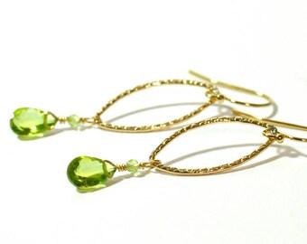 Peridot earrings, Peridot Gold earrings, August Birthstone Jewelry, August Birthday earrings, Weddings,  Green stone earrings