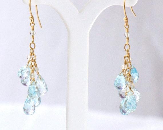 14K Gold. Sky Blue Topaz earrings, December Birthstone Earrings, Bleu Topaz Chandelier Earrings, Blue Stone Earrings, Gift For Her