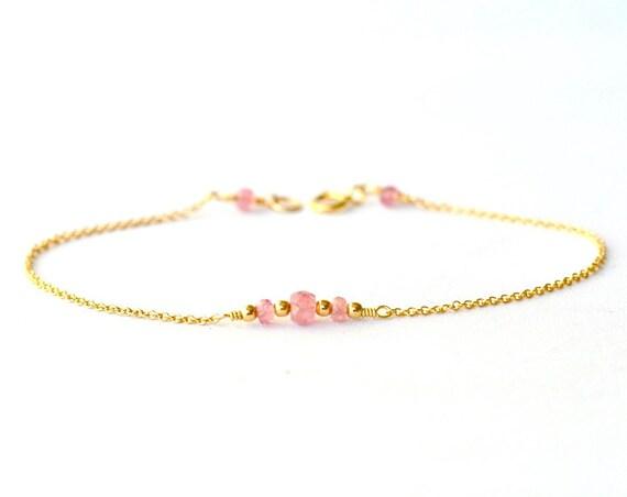14K Gold. Tiny Pink Tourmaline bracelet, Delicate gold bracelet, Pink Tourmaline gold bracelet, Minimalist, October Birthday Jewelry