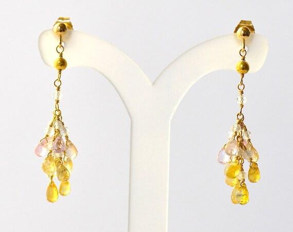 18K Gold. Yellow Sapphire Earrings in 18K Yellow Gold , Delicate Diamond Earrings, September Birthstone Earrings