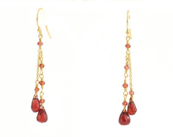 Red Garnet Earrings, Garnet  earrings, January Birthstone Gift, Gift For Her,