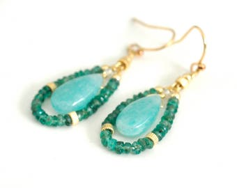 Emerald Earrings, Amazonite Earrings,  May Birthstone Jewelry, Amazonite and Emerald earrings, Green Stone Earrings