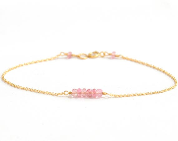 14K Gold. Pink Tourmaline bracelet, Delicate gold bracelet, Pink Tourmaline gold bracelet, Pink stone Bracelet, October Birthday Gift