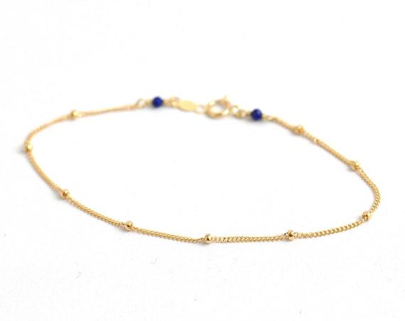 14K Gold. Lapis lazuli gold bracelet, Lapis Bracelet, Dainty gold bracelet, Delicate gold bracelet, Minimalist, September Birthstone Jewelry