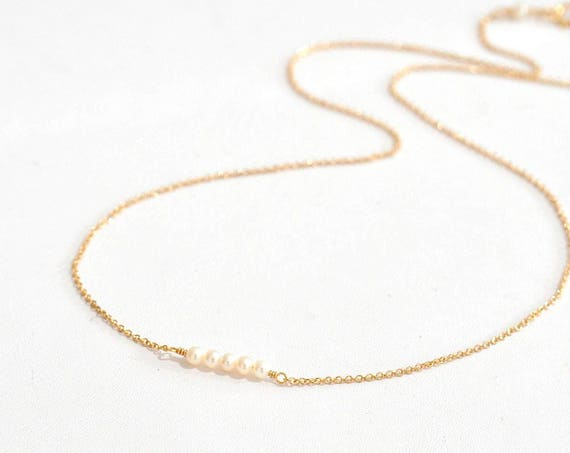 14K Gold. Tiny Freshwater pearl Necklace, Pearl gold Necklace, Pearl bar Necklace, June Birthstone, Dainty Pearl Necklace