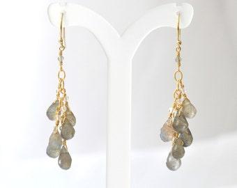 Labradorite earrings, Gray stone Earrings, Labradorite Chandelier Earrings, Gift For Her