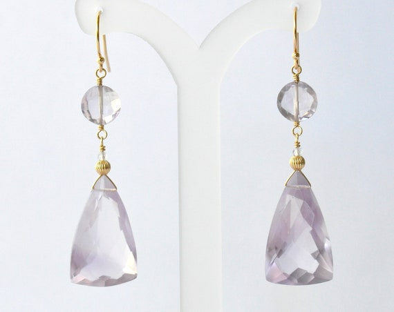 14K Gold. Pink Amethyst Earrings in 14KYG,  February Birthstone Jewelry, Gift for Her, Holiday Gift Idea