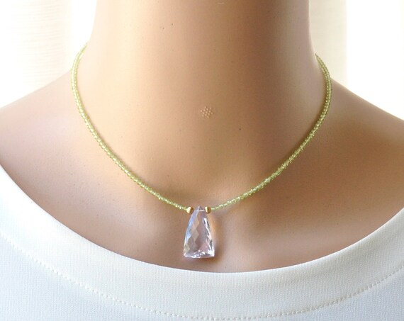 14K Gold. Pink Amethyst Necklace in 14KYG, Pink Amethyst Choker necklace. February Birthstone Jewelry, Gift for Her, Holiday Gift Idea