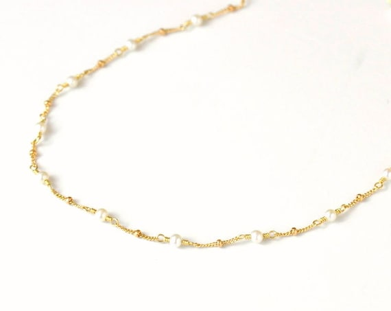 14K Gold. Freshwater Pearl Necklace