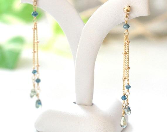 14K Gold. Blue Diamond & Green Sapphire Earrings. 14K Yellow Gold , Delicate Diamond Earrings, Delicate Gold Earrings, Blue stone Jewelry