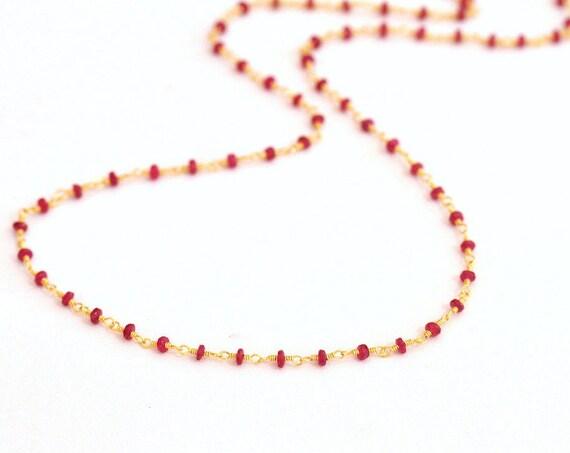 18K Gold. Natural Ruby Necklace, Tiny gemstone beaded necklace, July Birthstone, Ruby Gold Necklace