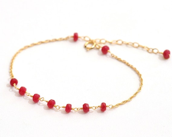 14K Gold. Ruby Bracelet,  14K Yellow Gold Ruby Beaded Bracelet, July Birthstone Jewelry, Gift For Her