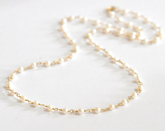 14K Gold. Freshwater Pearl Necklace, Tiny Pearl beaded necklace, June Birthstone, June Birthday Gift, Wedding necklace, Pearl Gold necklace