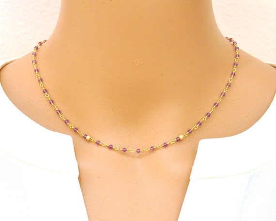 14K Gold. Amethyst Necklace in 14KYG,  February Birthstone Jewelry, Gift for Her, Holiday Gift Idea