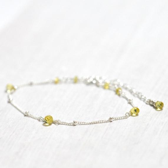 Yellow Sapphire Bracelet in Silver, Weddings, September Birthday Gift, September birthstone Jewelry, Yellow Sapphire Jewelry, Wife Gift