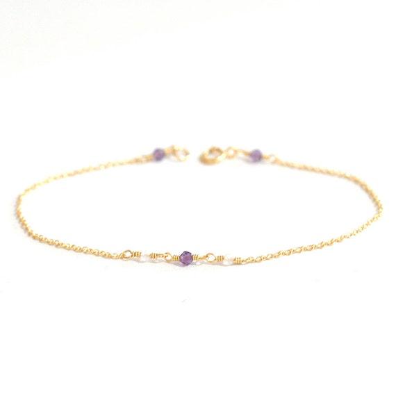 14K Gold. Tiny Amethyst & Moonstone bracelet, Delicate gold bracelet, Amethyst bracelet, Minimalist, February Birthstone Jewelry,