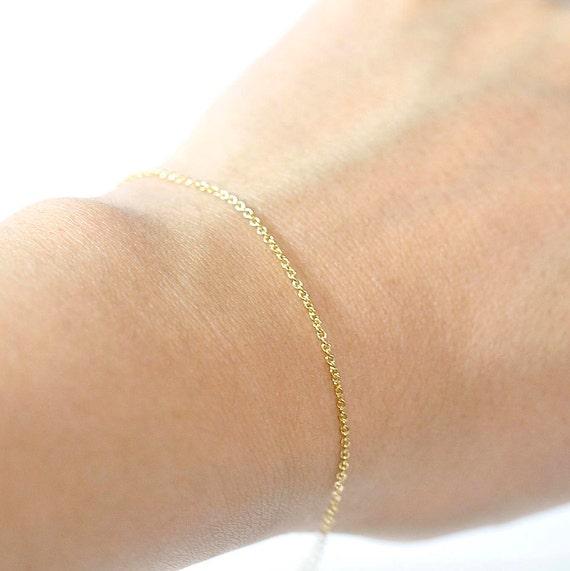 14K Gold. Skinny Chain Bracelet. Delicate Gold Bracelet, Thin and feminine, Minimum Jewelry,  everyday jewelry,