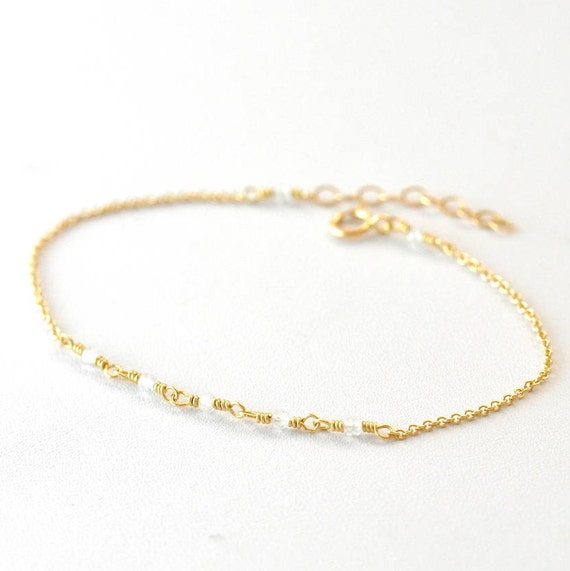 14K Gold: Tiny Moonstone bracelet,delicate gold bracelet, Moonstone bracelet, Minimalist, June Birthstone Jewelry, White stone bracelet
