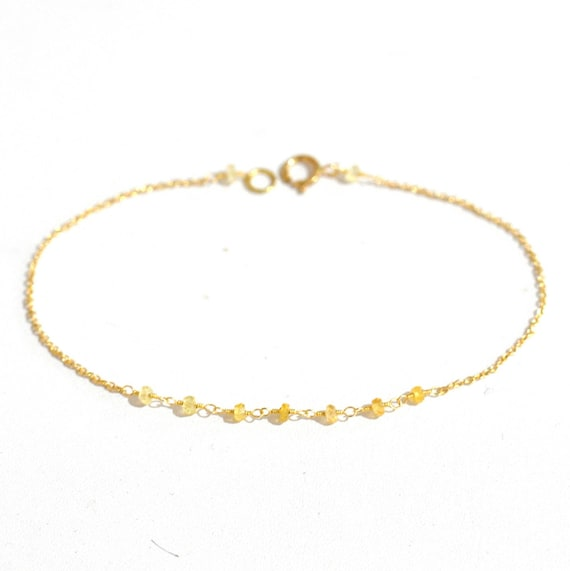 18K Gold. Yellow Sappihre Bracelet in 18KYG , Natural Sapphire Delicate Gold Bracelet, September Birthstone Jewelry, Gift for Her,