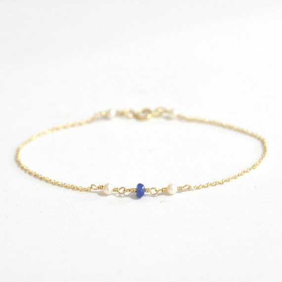 14K Gold. Tiny Blue Sapphire and Freshwater Pearl bracelet,Delicate gold bracelet, Blue Sapphire Bracelet, Minimalist Lovers, Blue and White
