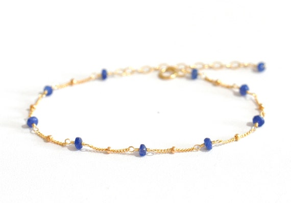 14K Gold. Blue Sapphire Bracelet in 14KYG , Delicate Gold Bracelet, September Birthstone Jewelry, Gift for Her, Holiday Gift Idea