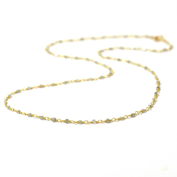 18K Gold. Gray Diamond Necklace, Tiny Grey Diamond beaded necklace, April Birthstone, 18K Gold Diamond Necklace,
