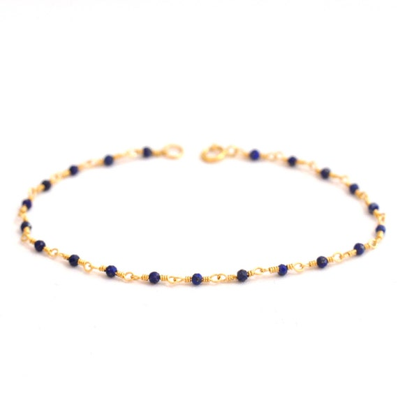 14K Gold. Lapis Lazuli Bracelet, Delicate Gold Bracelet, Minimalist, Minimum Jewelry, Gift For Her, september birthstone jewelry