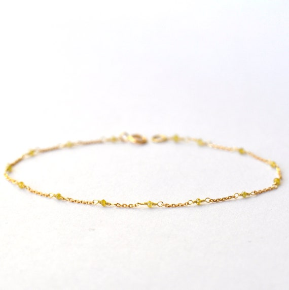 18K Gold. Yellow Diamond Bracelet in 18KYG , Yellow Diamond Gold Bracelet, April Birthstone Jewelry, Gift for Her, Holiday Gift Idea