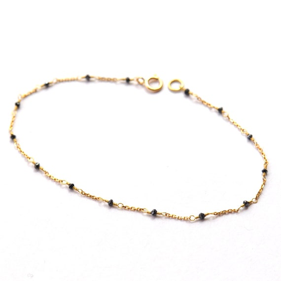18K Gold. Black Diamond Bracelet in 18KYG , Black Diamond Delicate Gold Bracelet, April Birthstone Jewelry, Gift for Her, Holiday Gift Idea