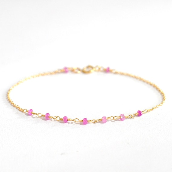18K Gold. Pink Sapphire Bracelet in 18KYG , Natural Sapphire Delicate Gold Bracelet, September Birthstone Jewelry, Gift for Her,