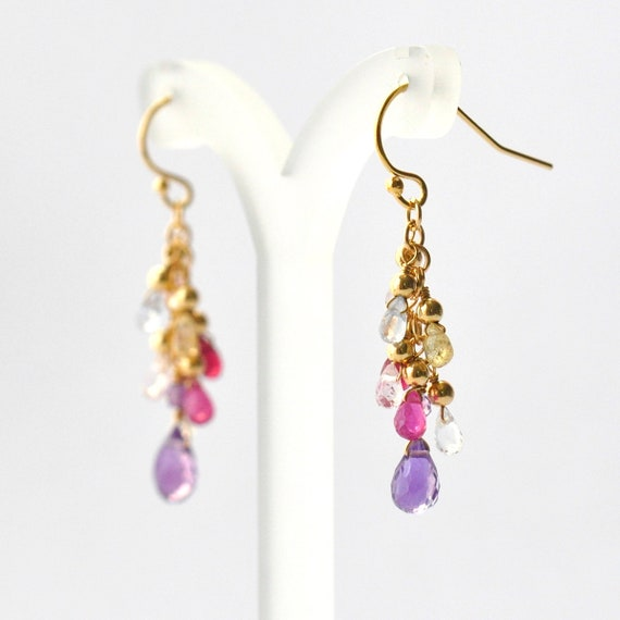 Amethyst, Multi-colored Sapphire earrings,  Amethyst Earrings, Purple Stone Earrings, Gift For Her