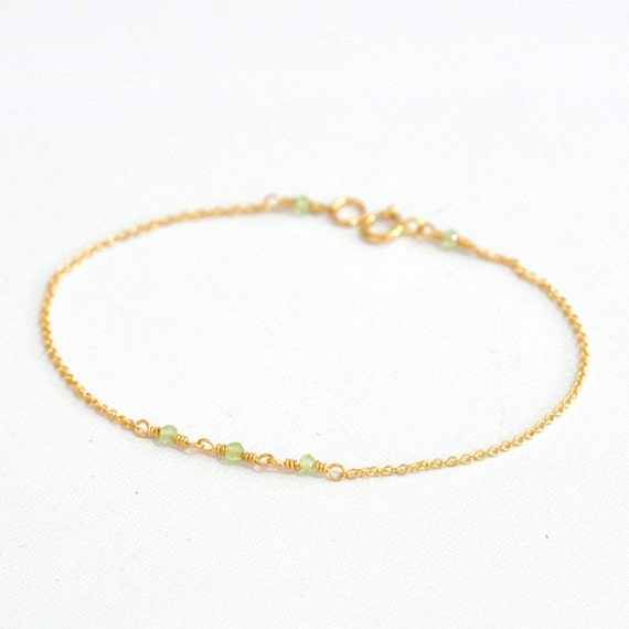 14K Gold. Tiny Peridot gold bracelet, Delicate gold bracelet, Peridot bracelet, Minimalist, Peridot Bracelet, August Birthstone