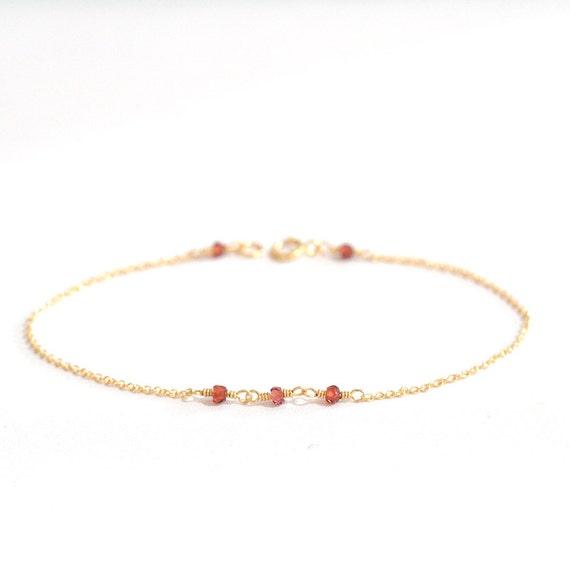14K Gold. Tiny Garnet bracelet, Red stone bracelet, January Birthstone Jewelry, Valentine Gift For Her