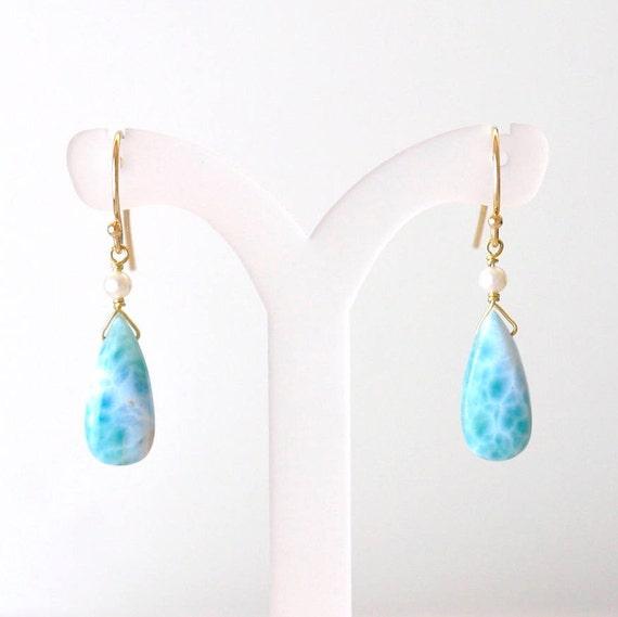 14K Gold. Larimar Earrings, Freshwater pearl earrings, Teal Blue stone Earrings,  Larimar Gold earrings, Gift For Her,