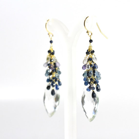 18K Gold. Blue Sapphire Earrings / Multi- color Sapphire Earrings  / Large Crystal Earrings / September Birthstone, Wife Gift, Mothers Day