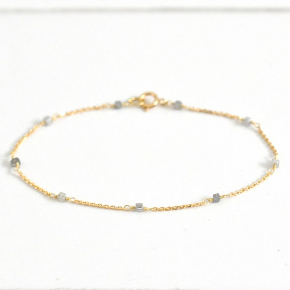 18K Gold. Grey Diamond Bracelet in 18KYG , Gray Diamond Delicate Gold Bracelet, April Birthstone Jewelry, Gift for Her, Holiday Gift Idea