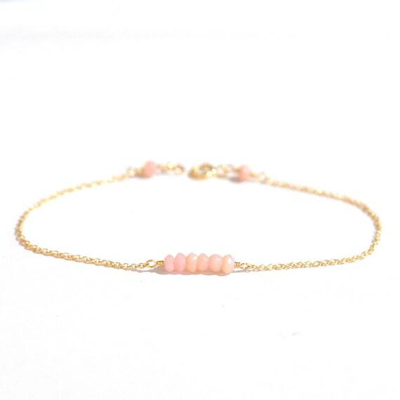 14K Gold. Tiny Pink Opal bracelet, Gem bar bracelet, Delicate gold bracelet, Pink Peruvian Opal gold bracelet, October Birthstone Jewelry