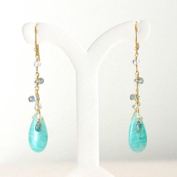 14K Gold. Green Sapphire & Amazonite earrings, Green stone Earrings,  Green Sapphire earrings, September Birthday Gift For Her,