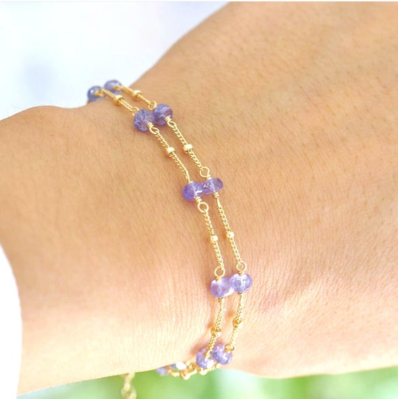 14K Gold. Tanzanite Bracelet, Delicate Gold Bracelet, Tanzanite Gold Bracelet, 14K Yellow Gold Bracelet, December Birthstone Jewelry