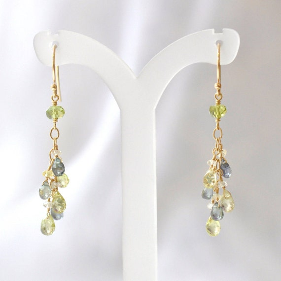 14K Gold. Multi-Color Sapphire earrings, green sapphire Earrings, Yellow Sapphire Earrings, September Birthstone Earrings, Gift For Her