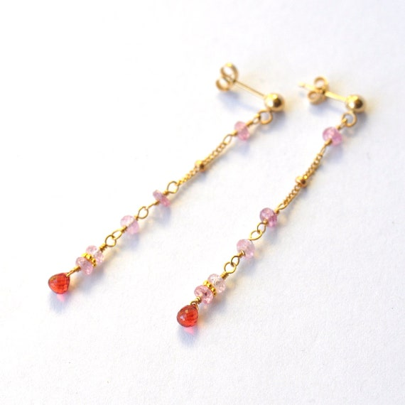 14K Gold Pink Sapphire & Red Sapphire Stud earrings, 18K Gold, Gold Sapphire Earrings, Pink Stone Earrings, September Birthstone Earrings