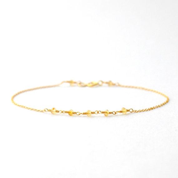 14K Gold. Citrine bracelet, Delicate gold bracelet, Citrine gold bracelet, Minimalist, November Birthday Jewelry