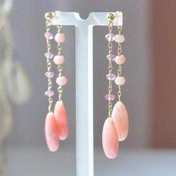 14K Gold. Pink Opal & Pink Tourmaline Earrings / 14K Gold long Earrings  / Pink Opal Earrings / September Birthstone Jewelry Gift For Her