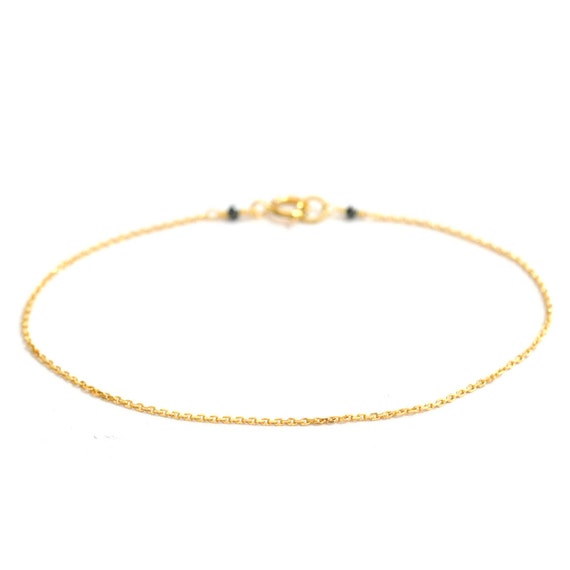 18K Gold. Black Diamond Bracelet, Delicate chain Bracelet, Delicate Gold Bracelet, April Birthstone Jewelry, 18k gold bracelet
