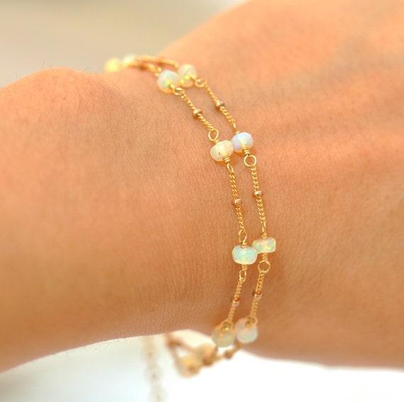 14K Gold. Rainbow Opal Bracelet, Delicate Gold Bracelet, Gold Opal Bracelet, 14K Yellow Gold Bracelet, October Birthstone Jewelry