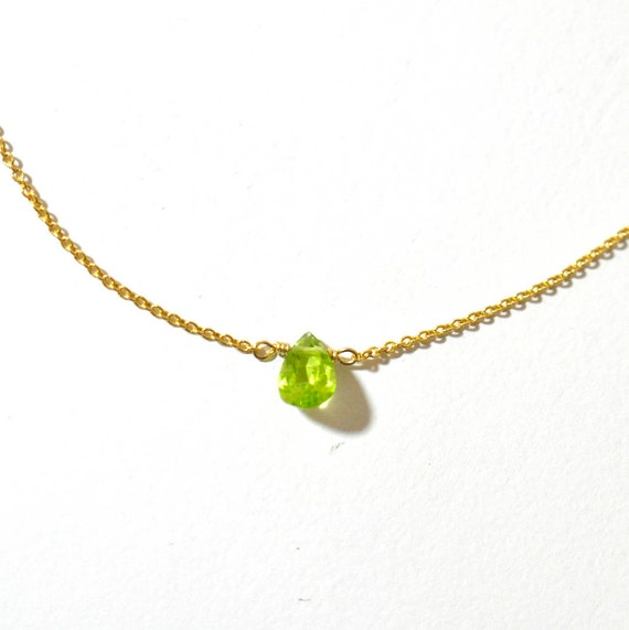 14K Gold. Peridot necklace - Dainty Peridot Solitaire Necklace, Peridot Gold Necklace, August Birthstone, August Birthday necklace