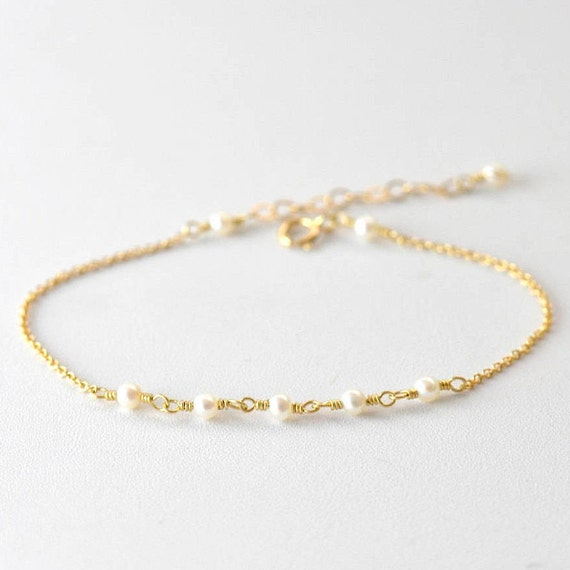 14K Gold: Tiny Freshwater Pearl bracelet, Delicate gold bracelet, Pearl bracelet, Minimalist, June Birthstone Jewelry, Bridesmaid Gift