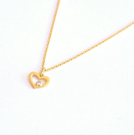 18K Gold. Diamond Heart Charm necklace in 18KYG, 18k Gold heart charm Necklace, April Birthstone Jewelry, 18K Yellow Gold, Birthday Gift
