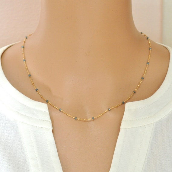 14K Gold. Blue Diamond Necklace, Delicate Diamond beaded Necklace, April Birthstone Jewelry, Anniversary Gift For Her
