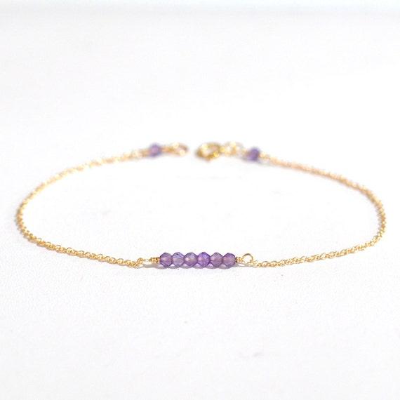 14K Gold. Amethyst bracelet, Amethyst bar bracelet, February Birthstone Jewelry, Valentine Gift